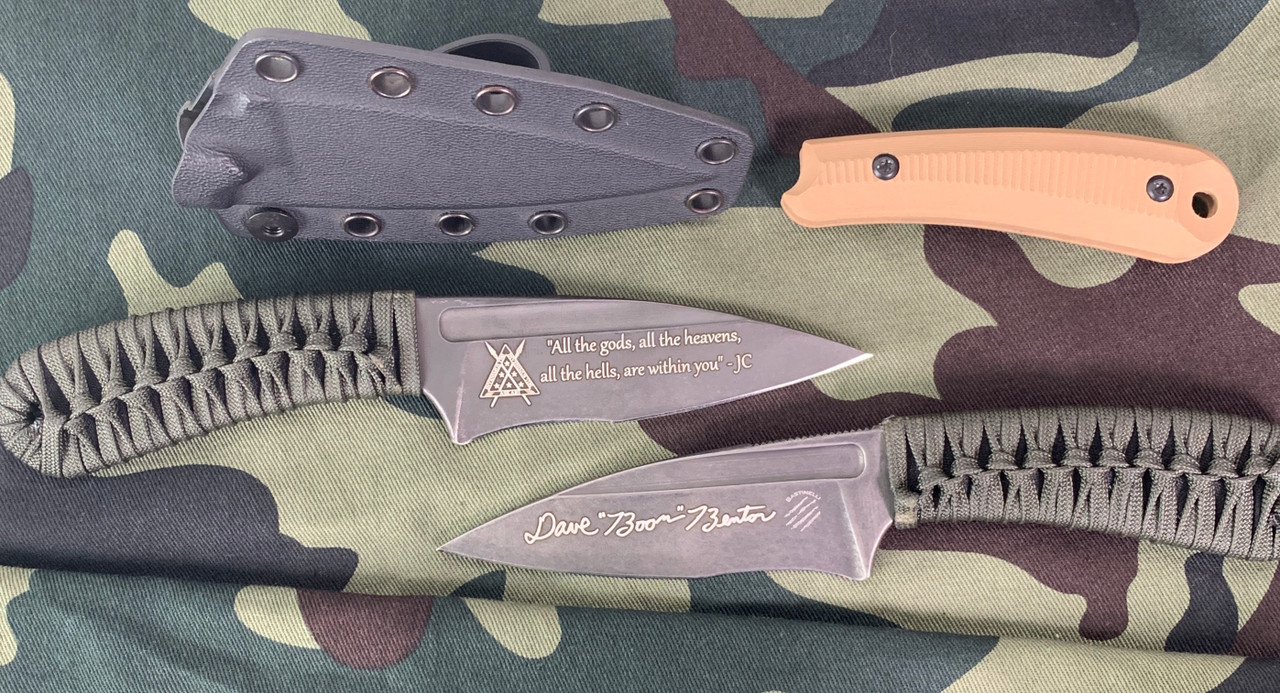 Engraving with Joseph Campbell quote and Boon's signature. Kydex sheath and 3D G10 coyote extra grips.