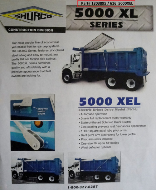 5000XEL™ Dump Truck Tarp System, Complete System (20-616/1803895)