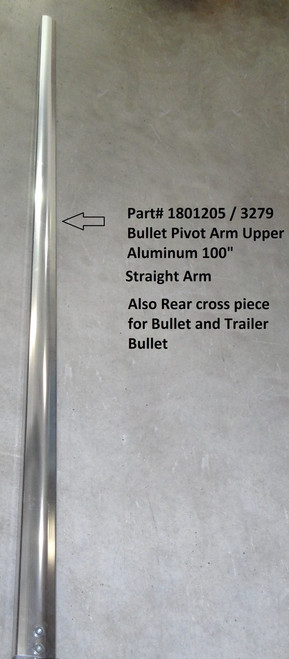 "Bullet Pivot Upper Arm, Extrusion, 100"", Drilled, Aluminum, Straight Arm (20-3279/1801205)"