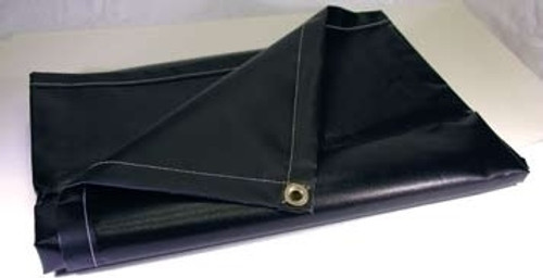 20' X 30' Blk/Blk 16 oz. Neoprene Coated Nylon Tarp W/Grommets 24'' Apart