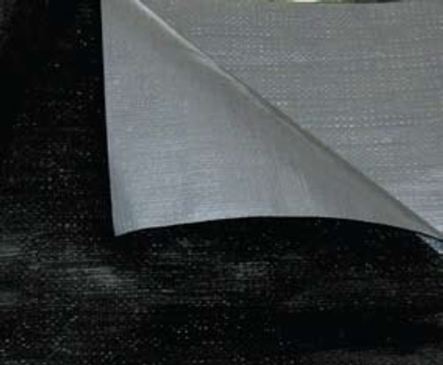 50' X 50'Black/Silver Poly Tarp W/Rope In Hems W/Grommets 24'' Apart