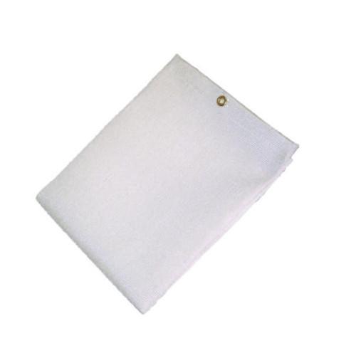 9' X 18' 35 oz. White Fiberglass Blanket W/Grommets 24'' Apart