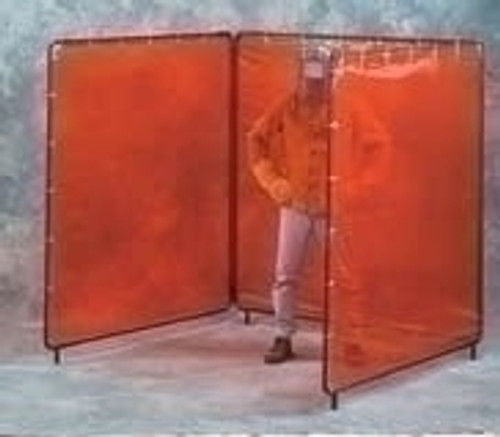 5X5X5 X 5'H Green Weld View 3 Panel Welding Screen Complete Unit 15'X 5'Curtain