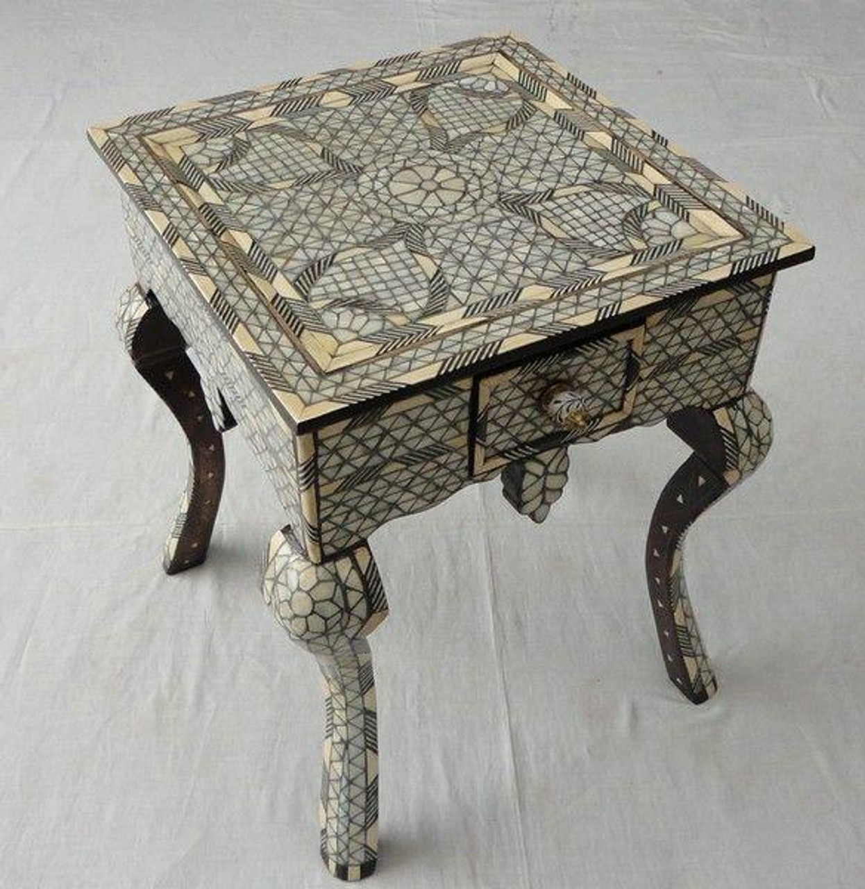 Enjoyable Syrian Mother Of Pearl Wood Coffee Tea Table With A Drawer Lamtechconsult Wood Chair Design Ideas Lamtechconsultcom