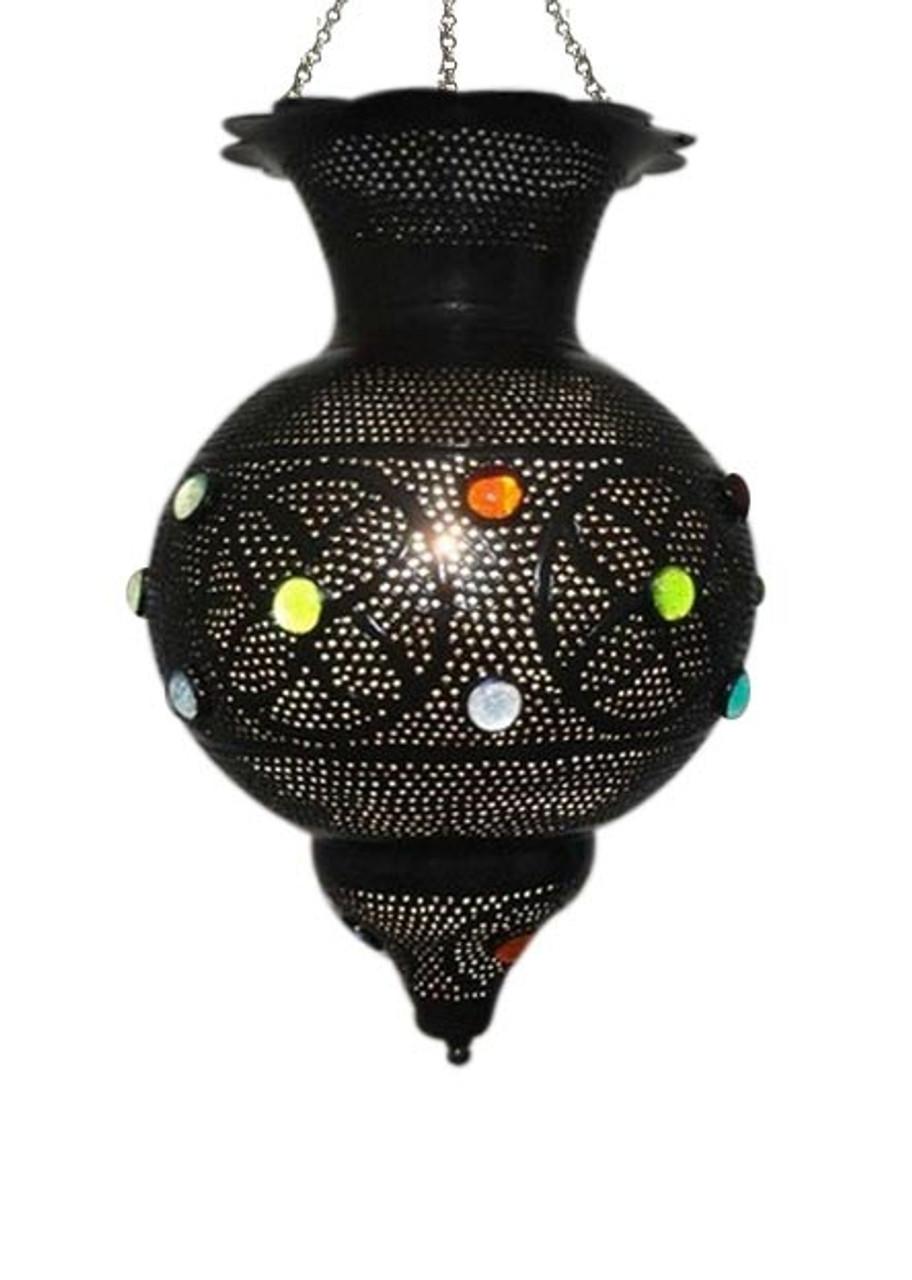 Black Oxidized Brass Jeweled Moroccan Chandeliers