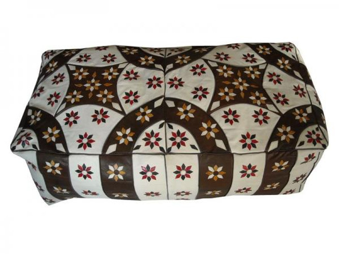Moroccan Leather Bench Pouf