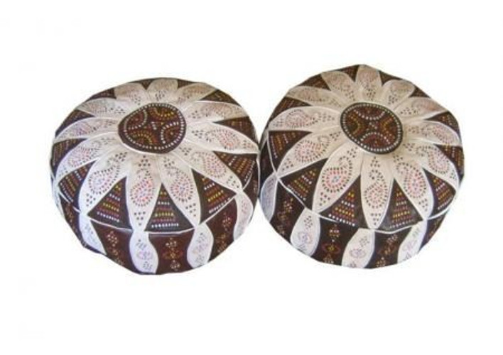 Moorish Leather Poufs Footstools