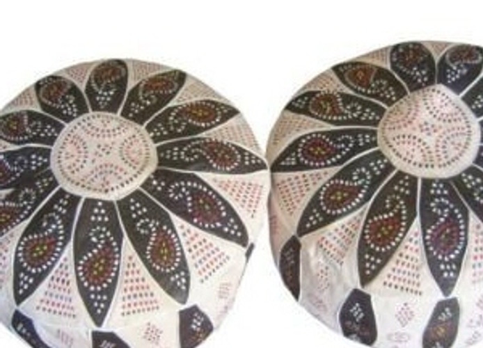 Moroccan Leather Poufs - Pouffe Footstools