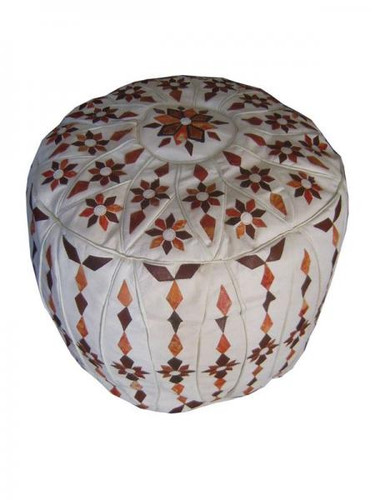 Moroccan Leather Pouf Footstool-Tall