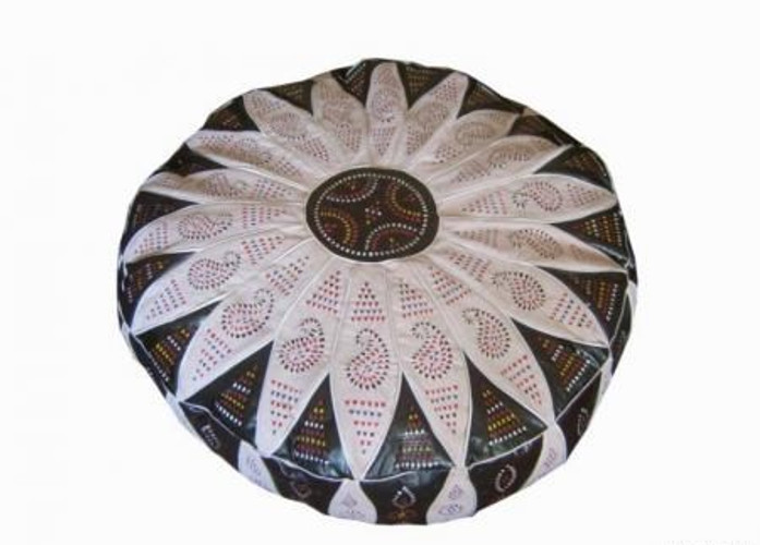 Moroccan Leather Floor Pouf Footstool