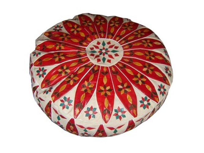 Moroccan Ottoman Leather Pouf Footstool