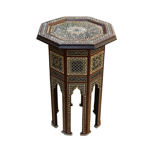"29"" Moroccan Mother of Pearl Inlaid Side Table"