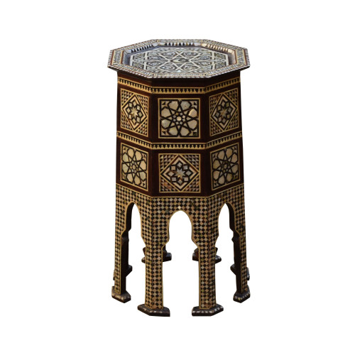 Rare Turkish Mother of Pearl Inlaid Wood Side End Coffee Table Moroccan Design
