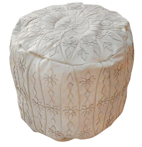 Moroccan style leather pouf