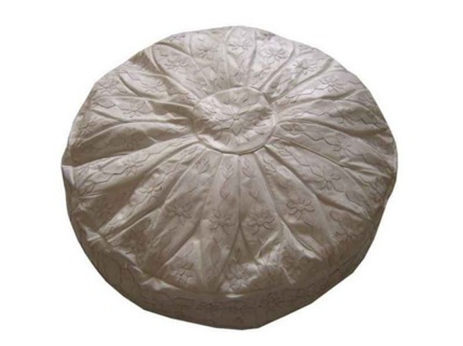 White Leather Floor Pouf