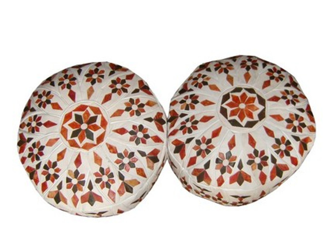round Moroccan poufs