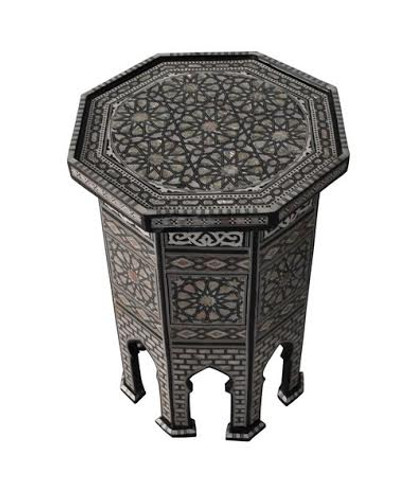 Egyptian Mother of Pearl Mosaic Inlay Wood Coffee Table