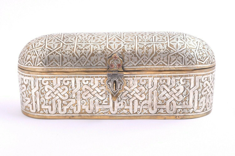 Islamic Mamluk revival silver inlaid brass qalamdan Box-Cairoware
