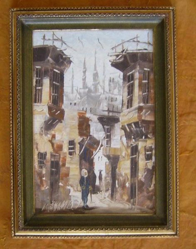 FRAMED Oil Painting of Street Mosque scene-Cairo