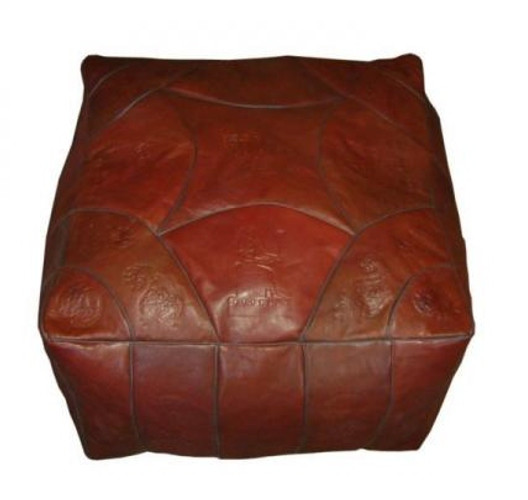 square Moroccan leather pouf