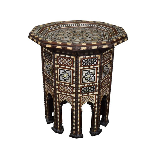 Turkish Ottoman Mother of Pearl Wood Coffee End Table
