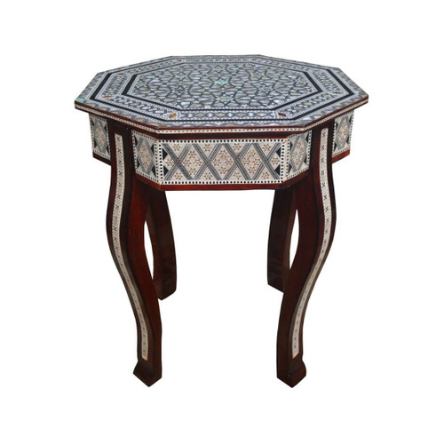 Egyptian Mother of Pearl Wood Octagonal Coffee Table