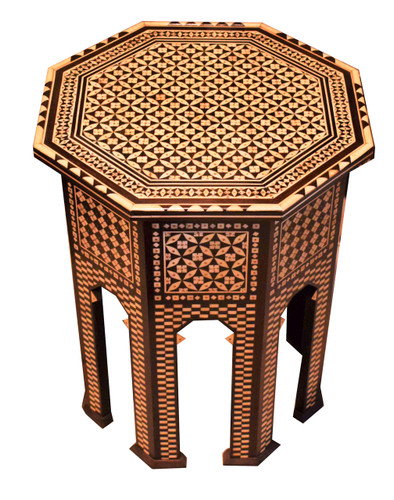 Middle Eastern Mother of Pearl Wood Coffee End Table