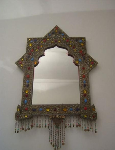 Moroccan Jeweled Brass Wall Mirror Frame