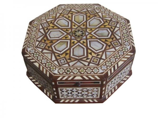 Large Egyptian Mother of Pearl Mosaic Jewelry Box