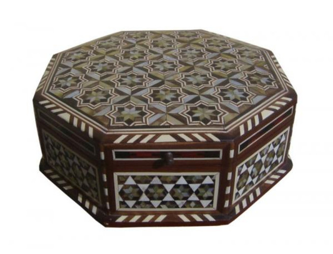 Egyptian Mother of Pearl Mosaic Wood Jewelry Box-Large