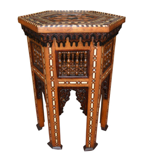 Rare Vintage Egyptian Wood Mashrabiya Side Coffee Table