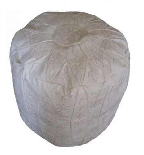 Moroccan White Leather Ottoman Pouf Footstool