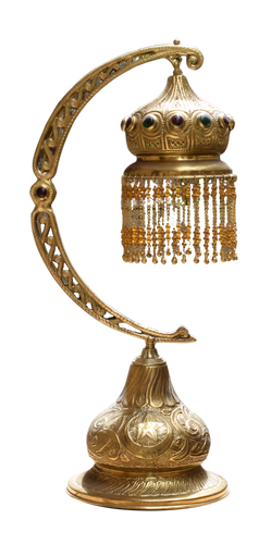 Half moon Beaded Brass Table Lamp