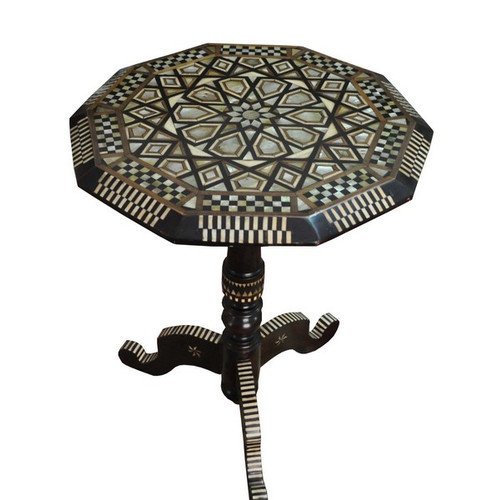 Turkish Mosaic Mother of Pearl Wood Side Coffee Table