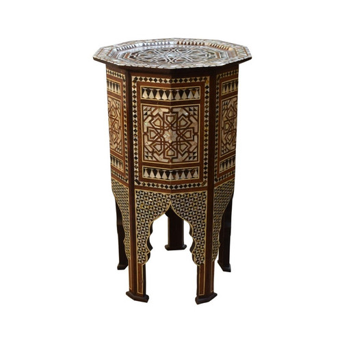 Moroccan Turkish Mother of Pearl Wood Coffee Side End Table