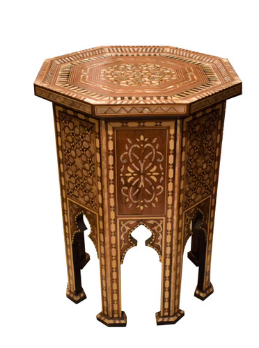 Moroccan Mother of Pearl Wood Coffee Side Table