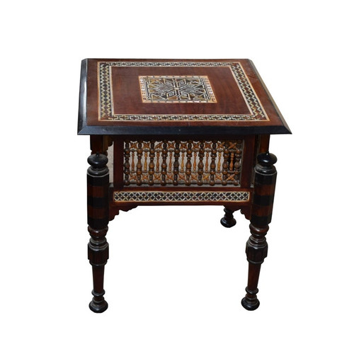"""Handcrafted 21"""" Square Beech Wood Side Table/Mother of Pearl Inlaid Wooden Morocco Table"""