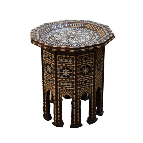 Ottoman Turkish Mother of Pearl Wood Coffee Side Table