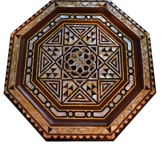 Egyptian Islamic Mother of Pearl Wood Coffee Side Table