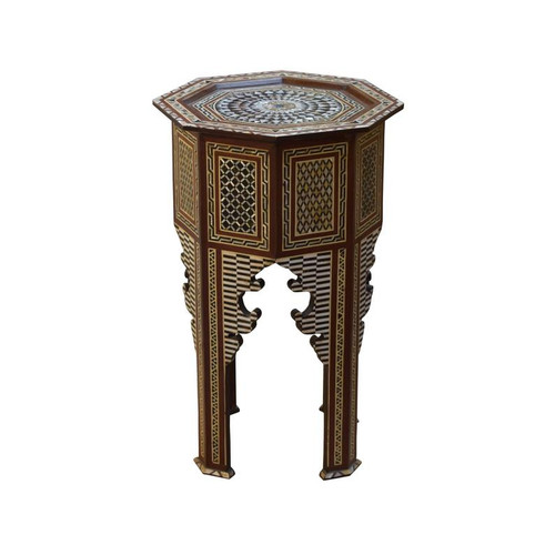 "27"" Turkish Mother of Pearl Wood Coffee Side End Table"