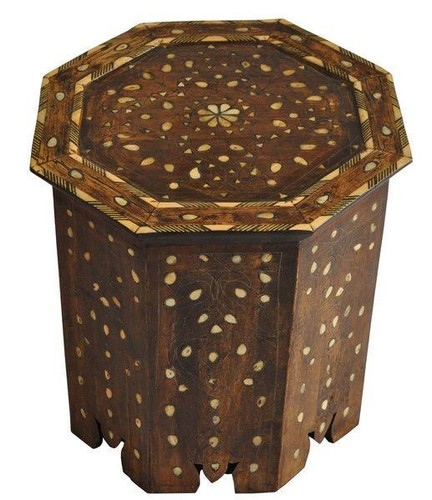 Vintage Syrian Mother of Pearl Octagonal Coffee Table