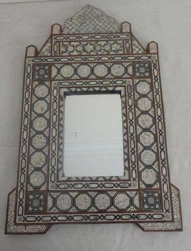 Egyptian Mother of Pearl Mosaic Wood Mirror Frame