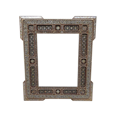 """Large 37"""" Moroccan Wood Wall Mirror mother of pearl Frame"""