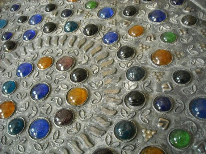 Moroccan Jeweled Wall Hanging - Brass Tray