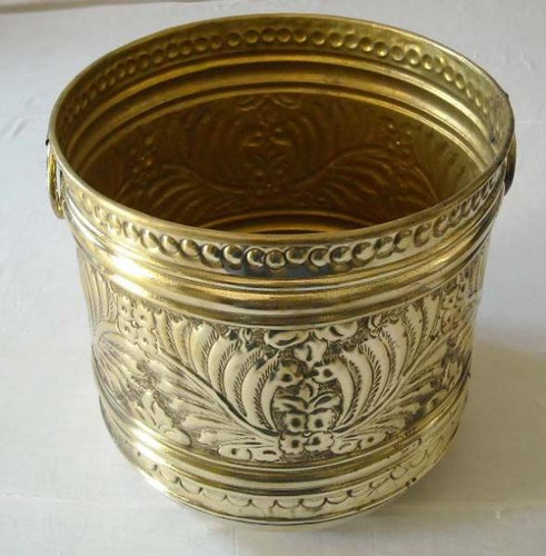 "Egyptian Brass Pot Round Planter w/Handles- 16"" Large"