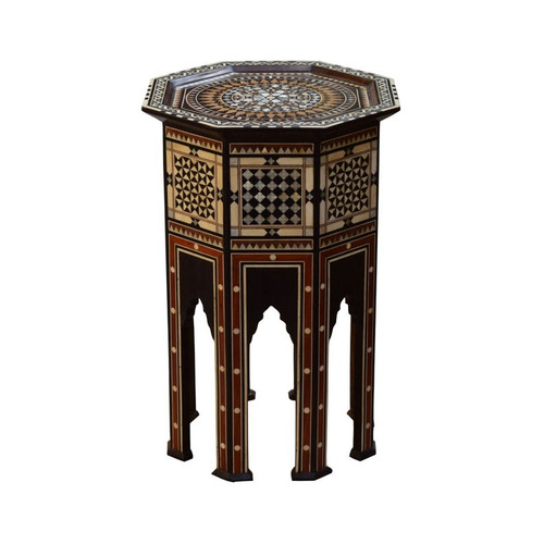 Moroccan Arabian Mother of Pearl Wood Coffee Side Table