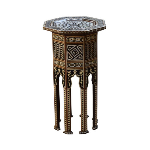 Turkish Mother of Pearl Wood Side Table