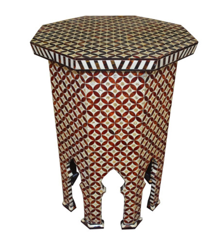 Unique Handcrafted Mother of Pearl Inlaid Moroccan Wood Side Coffee Table