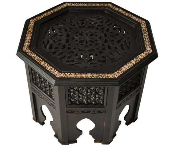 Moroccan Key Coffee Side Table, mashrabiya artwork