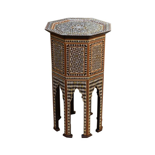 "29"" Turkish Side End Table,  Mother of Pearl Inlaid"